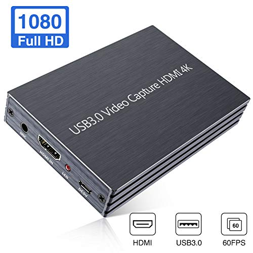 GOODAN Video Capture Card, 4K HDMI to USB 3.0 HD Game Video Capture Card 1080P 60FPS Game Recorder Box Device Live Streaming for Windows, Linux, OS X System