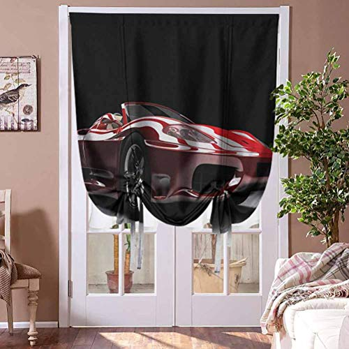 Window Blind Cars Thermal Insulated Blackout Curtain Automotive Industry Theme Powerful Engine Fast Technology Prestige Performance Home Fashion Window Treatment Rod Pocket Panel, 23