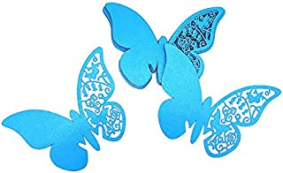 HaimoBurg 100pcs Butterfly Wedding Party Baptism Table Name Place Cards with Glue dots Glass Cup Decoration Wall Decals Sticker (Blue)