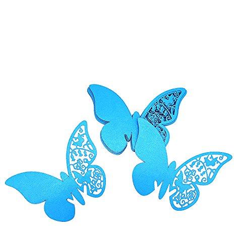 ElecMotive 100 Pcs Schmetterling Trichterwinde Tischkarten Namenskarten Glasanhänger Wandsticker für Tischdeko Hochzeit Party Haus Deco (Blau)