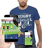 PIXEL EVOLUTION T-Shirt 3D Rugby Montpellier en Réalité Augmentée Homme - Taille M - Bleu Royal
