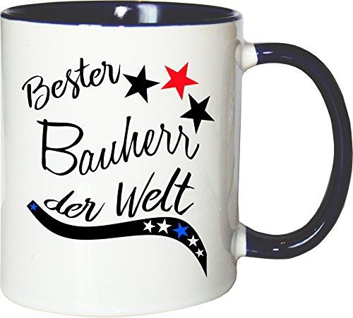 Mister Merchandise Becher Tasse Bester Bauherr der Welt. Kaffee Kaffeetasse liebevoll Bedruckt Beruf Job Arbeit Weiß-Blau
