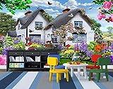 Papier peint mural ciel bleu au toit de chaume multicolore petit jardin chien paysage...