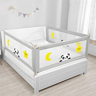 JC SUN 100CM Height Adjustable Folding Kids Baby Safety Bed Rail BedRail Playpen Toddler Guard (100cm*200cm)