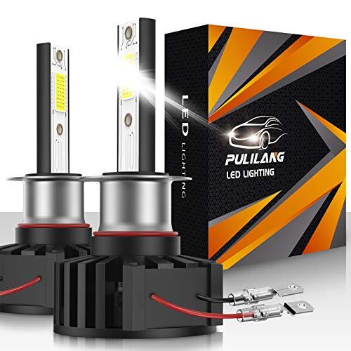 Pulilang Bombillas de Faros LED H1 Luz de Coche LED 60W 12000LM Conversión de Faros a Prueba de Agua Súper Brillante 6500K IP65 Paquete de 2