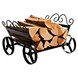 DOEWORKS Fireplace Log Rack Decorative Wheels Fire Wood Carriers Heavy Duty Firewood Holder Stand for Indoor/Outdoor Fire Place