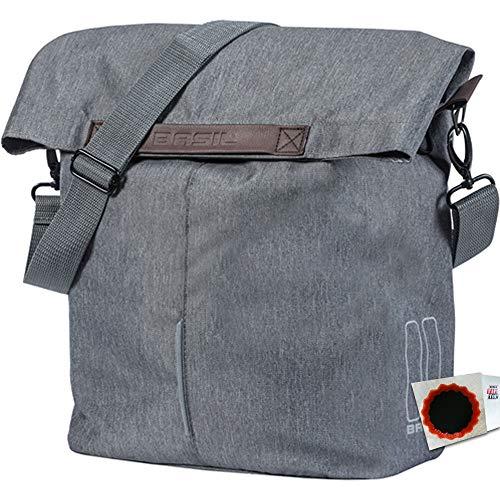 Basil Seitentasche City Shopper 16L Grey Melee Fahrrad Tasche + SCHLAUCHFLICKEN