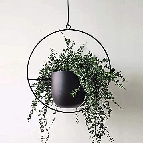Atlnso Hangende bloempot, metaal, zwart, voor bevestiging aan wand en plafond, chloorofhytum, groen, vetplanten, ronde