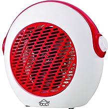DCG Eltronic HL9738 HL9738-Calefactor (Calentador de ventilador, Interior, Piso, Giratorio, 2000 W, 2 Velocidades, Rojo/Blanco o Azul/Blanco