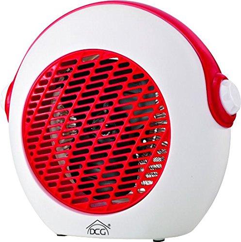 DCG Eltronic HL9738 - Stufetta con ventilatore, interni, pavimento, girevole, 2000 W, 2 velocità, rosso/bianco o blu/bianco