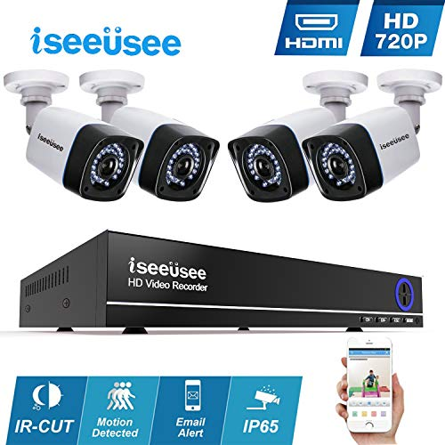 Iseeusee 4-Channel 1080N Video Security DVR Surveillance Camera Kit, 4x1280TVL 720P Indoor Outdoor Weatherproof Bullet Cameras 65 Feet Night Vision Support Smartphone Remote Access(NO HDD)