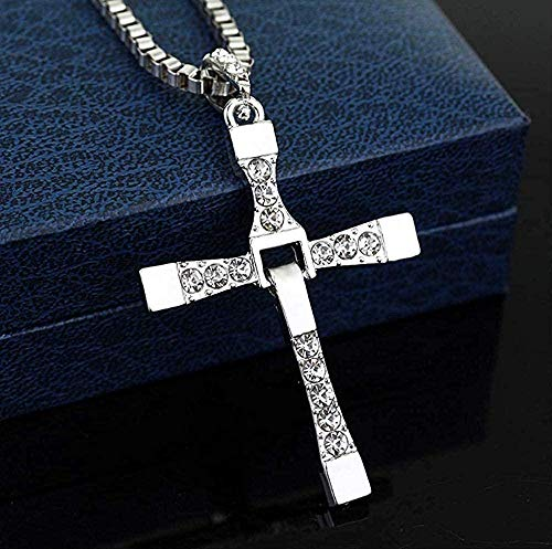 Yiffshunl Necklace Necklace The Fast and Furious Celebrity Dominic Toretto Cross Pendant Necklace Crystal Cross Necklaces Jewelry for Men Gifts Necklace Gift