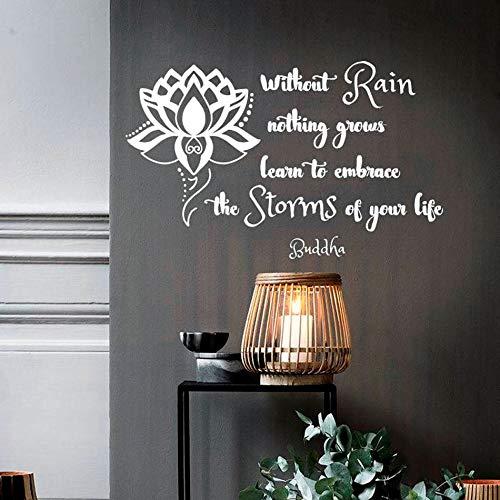 Muurstickers Quotes Boeddha Zonder regen Niets Groeit Knuffel Stormen Leven Lotus Meditatie Wijsheid Vinyl Decal Wohnkul57 * 91