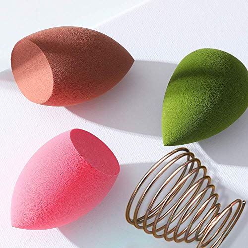 3 Pcs Beauty Makeup Sponges and 1 Pcs Makeup Blender Holder, Multi-shape Latex-Free Egg Powder Puff Sponges for Liquid, Cream and Powders, Cosmetic Tools Beauty Makeup Set for Dry and Wet Use