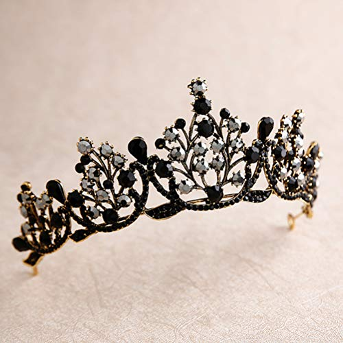 Lurrose Corona barroca de lujo Corona de cristal negro Tiara de Halloween y corona Corona de diamantes de imitacin Reina (Negro)