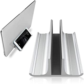 調節可能、スタンド式、ノートパソコン用ベースでもあり、スペースを節約できる一つ三役のノートパソコン縦置きスタンドです。MacBook Pro Air、Mac、HP、Dell,Microsoft Surface,Lenovo全てに対応しています。高さは最大17.3インチ シルバー
