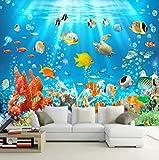 Papel Pintado Pared Acuario banco de peces Fotomural Tejido no Tejido 3D Murales Moderna de Diseno Fotográfico Decoración Salón Dormitorio Habitaciones Comedores 350x256cm