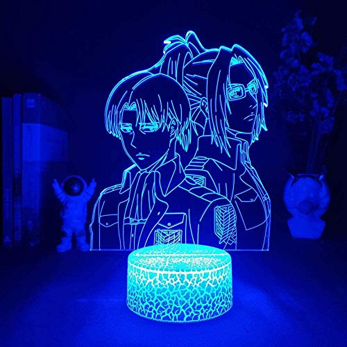 Attack On Titan Levi LED 3D luz nocturna, lámpara de ilusión con mando a distancia, 16 colores que cambian de Navidad, regalo de cumpleaños para niños y niñas