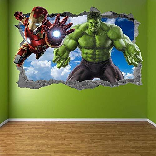 AUUUA Etiqueta de la pared Pegatinas de arte de pared de superhéroe calcomanía mural Hulk Iron Man para niños EA85
