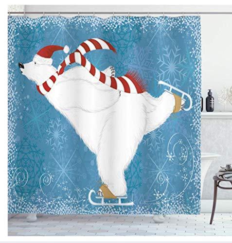 AdoDecor Cortina de ducha resistente al moho, oso polar con gorro de Navidad y bufanda, decoración de baño 160 x 180 cm