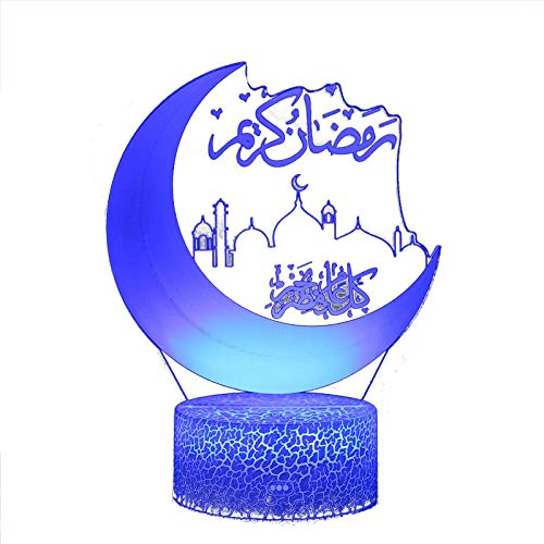 YESS Ramadán 3D Lámpara de Mesa Escritorio LED Luna Ramadán Decoración Luz Mesita de Noche Lámpara Mubarak Iluminación del sueño Decoración Luz Nocturna Lámpara de atmósfera Normal