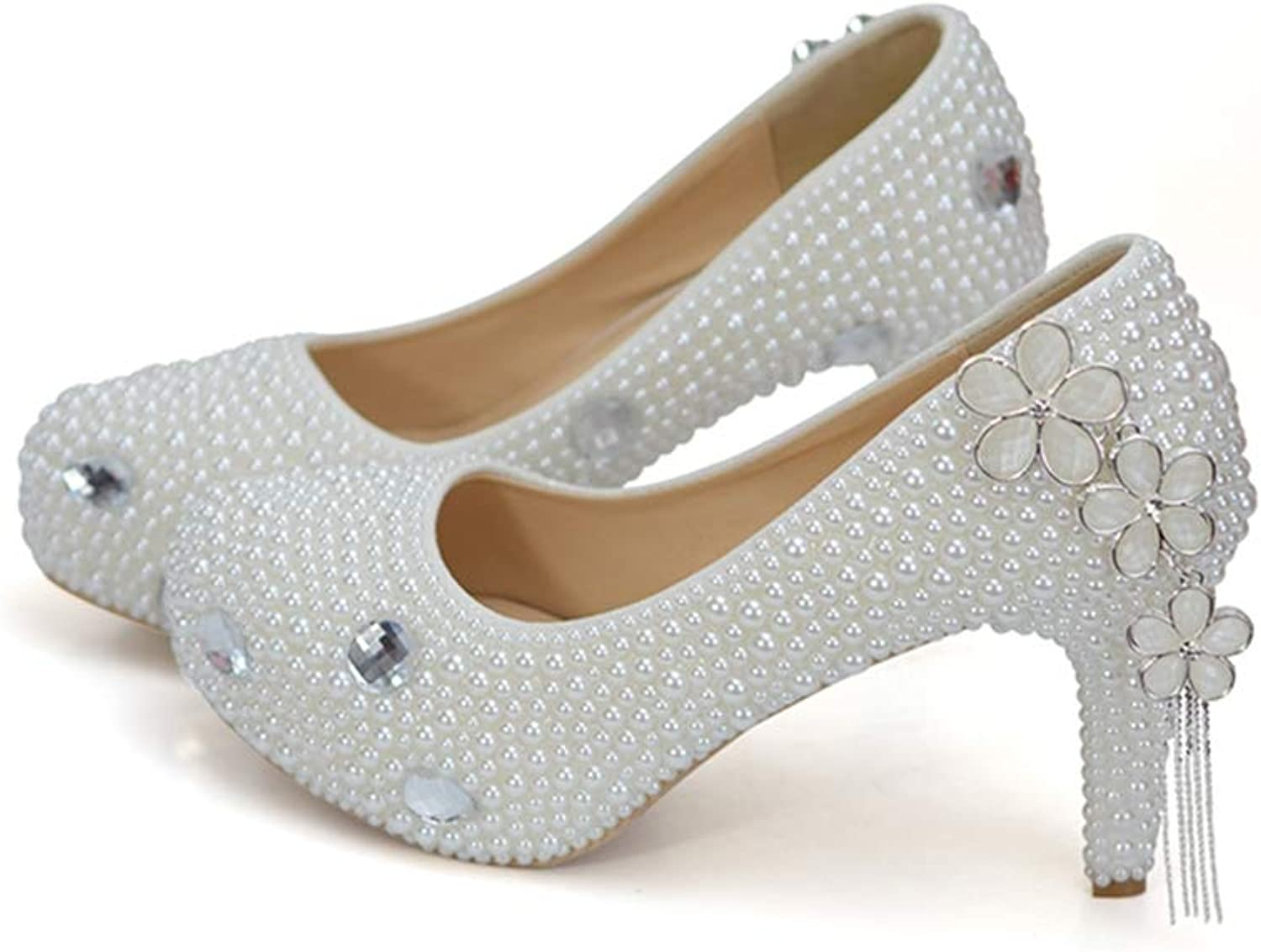 Sparrow White Pearl High Heels for Wedding Round Toe Bridal Dress shoes Women Party Prom shoes Event Platform Pumps