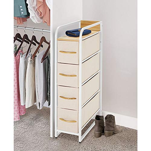 mDesign Vertical Narrow Dresser Storage Tower - Sturdy Steel Frame, Wood Top & Handles, Easy Pull Fabric Bins - Organizer Unit for Bedroom, Hallway, Entryway, Closets - 4 Drawers - Cream/White