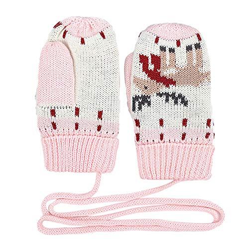 Ynnxia Kinder Fünf-Finger-Handschuhe Baumwolle Strickhandschuhe Winddichte Handschuhe für Kinder Jungen Mädchen Gr. 90, Pink Fawn L