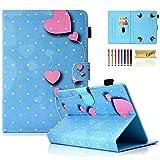 Casii - Funda universal para tablet de 7,5 – 8,5 pulgadas, delgada, con función atril, con ranuras para tarjetas, para Samsung Tab/Kin dle F ire/Lenovo Tab/Huawei MediaPad, corazón rosa