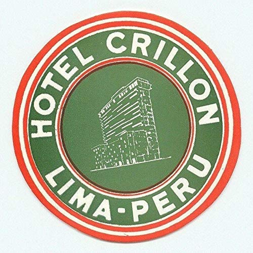 Lima Peru Hotel Crillon Large Vintage Retro Metal Sign 12x12 Inch