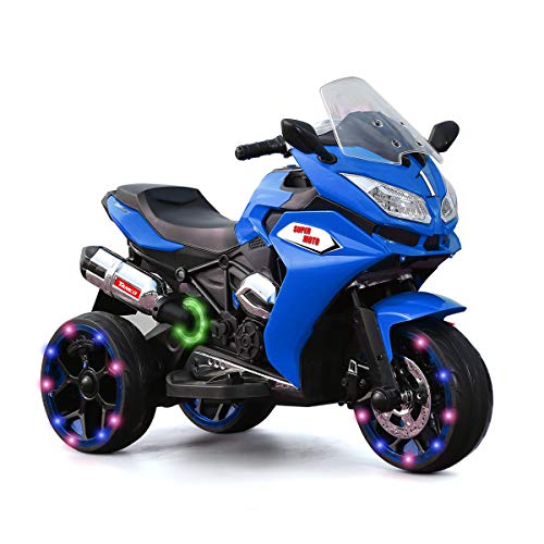 Alison Children Battery Motor Bikes Rechargeable 3 Wheels Ride on Kids Electric Motorcycle with Light Wheels (Blue)
