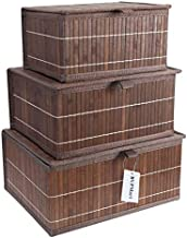 BVPMart 3pc Storage Basket with Lid – Rectangular Decorative Bamboo Baskets/Bin with Lid for Shelf Organizer.