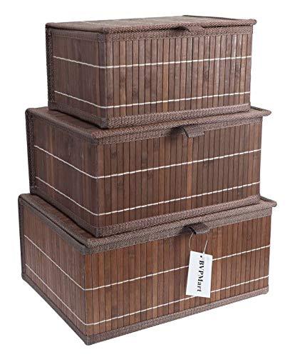 3pc Wicker Storage Baskets with Lids – Rectangular Decorative Bamboo Basket / Bin with Lid for Shelf Organizer.