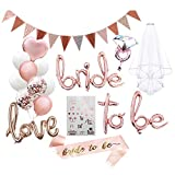 Bride to be Deko, set de despedida de soltero, accesorios JGA, para mujer, despedida de soltero, globos de novia y amor, banda, velo y tatuaje de novia, globos de confeti de color oro rosa