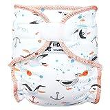 Anavy - Pañal (pañal de noche XL) 7-18 kg - (sin compresas) - Sailor Seagull Anavy - Tipo de cierre de velcro - (sin compresas)