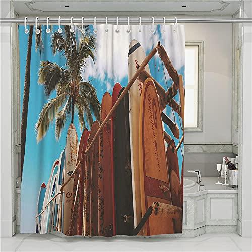 ZDPLL Cortina de Ducha Impresa en 3D Mirando la Tabla de Surf Cortinas de duche em poliéster impermeável, para la decoración del hogar 180x220cm