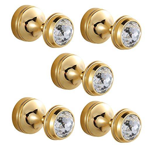 CASEWIND 5 Stück Poliert Gold Finished Handtuchhaken Kleiderhaken Mantelhaken aus Messing Wandmontieren mit Dekoration von Kristal Luxus Stil