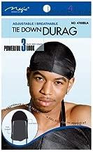 Magic Tie Down Nylon Sport Durag Black Hair Cap (6 PACK-BLACK)
