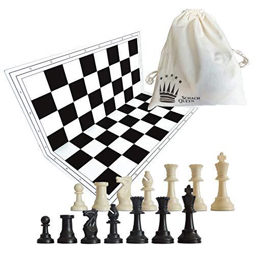 SchachQueen - Schachset - komplettes Schachspiel mit Schachbrett und Schachfiguren Plastik...