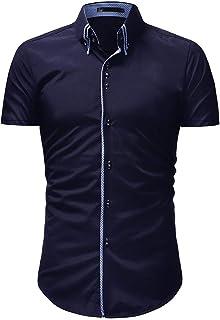 メンズ シャツ ソリッド カジュアル おしゃれ 腹を収束 補正 体型を正す 夏季対応 ボタンダウン 半袖 シャツ トップ キャンプ アウトドア 登山 ブラウス