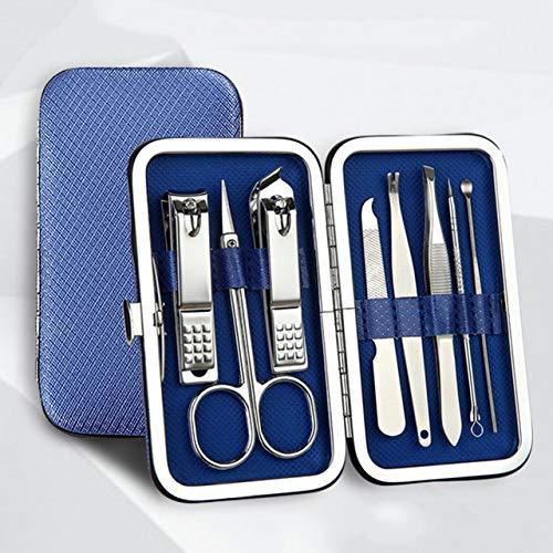 Étui en cuir 8pcs / mettre Toilettage Kit coupe-ongles Cutter Coupe-oreille en acier pick manucure pédicure ongle d'orteil Outils d'art Kits Set (Color : Blue)