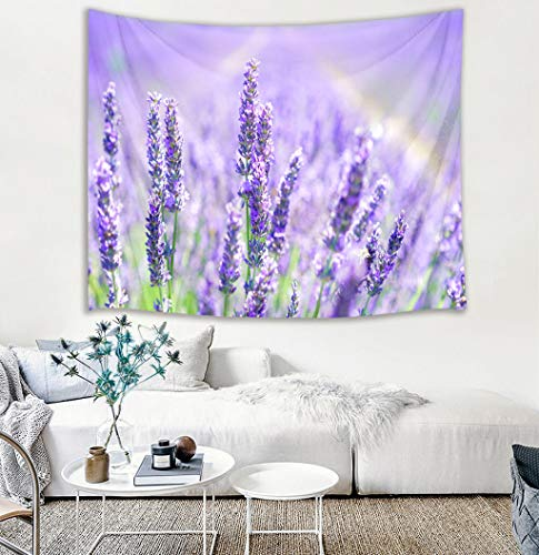 HVEST Lavender Tapestry Purple Flowers Blooming in Field Wall Hanging Spring Scenery Tapestries for Bedroom Living Room Dorm Decor,60Wx40H inches