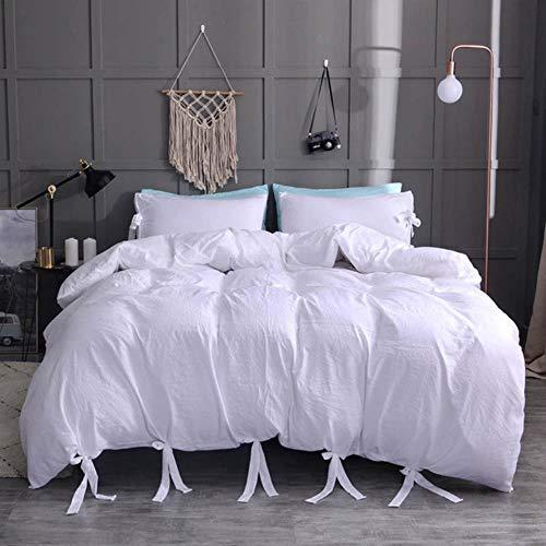 SXCYU Beddengoedset zacht gewassen katoenen dekbedovertrek (met kussensloop), tweepersoons, kingsize kingsize bed, wit, 135 x 200 cm (2 stuks)