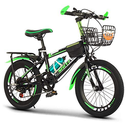GZMUK Bicicleta De Montaña para Niños De 18/20/22/24 Pulgadas Marco De Acero De Alto Carbono Adecuado,Asiento Regulable,Verde,24 in