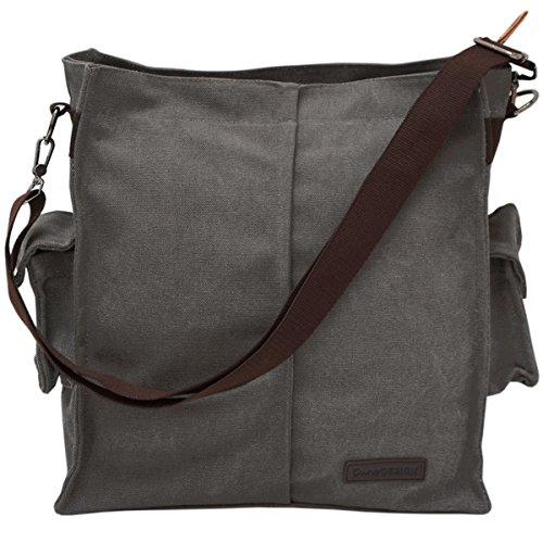 DuneDesign XXL Umhängetasche mit Geheimfach Unisex Handtasche 15x35x40cm Wertsachen Safe Geldversteck Tresor Tasche