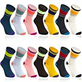 Retro Striped Crew Ankle Socks for Women (7 Pairs) -  Juvale