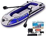 Canoa Inflable Para 4 Personas -【Azul + Gris】Kayak Inflable Con Balsa De 9 Pies Con Bomba De Aire, Remo De Cuerda, Bote Para 2,3 O 4 Personas Para Adultos Y Niños, Bote De Pesca Portátil Para 7 Kay