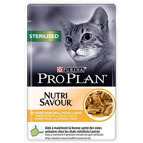 PURINA PRO PLAN STERILISED NUTRISAVOUR Katzenfutter nass für kastrierte Katzen, mit Huhn, 24er Pack (24 x 85g)