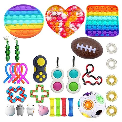 32 Piezas Sensory Fidget Toys, Juego de Juguetes sensoriales, Juego De Juguetes Sensoriales Fidget Toys Set Alivia El Estrés TDAH Adicción Y La Ansiedad Fidget Toy para Adultos, Niños