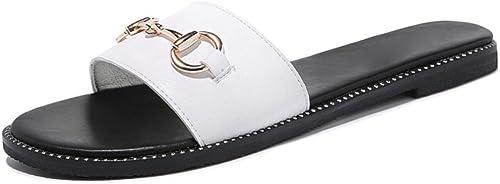 Mme sandales de plage en plein plein plein air avec des pantoufles femmes été chaussures plates mot , blanc , US6   EU36   UK4   CN36 8eb